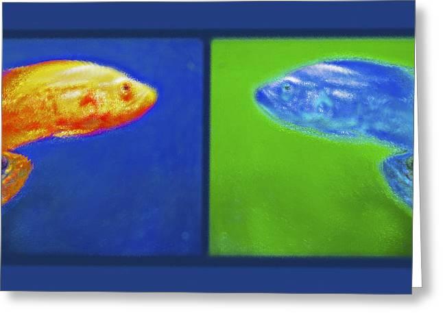 Reverse Art Greeting Cards - Aquarium Art Diptych Greeting Card by Steve Ohlsen