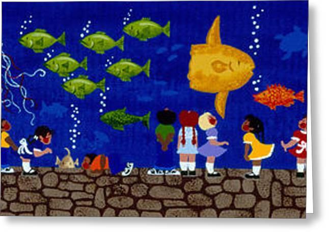 Jelly Fish Paintings Greeting Cards - Aquarium Field Trip Greeting Card by Merry  Kohn Buvia