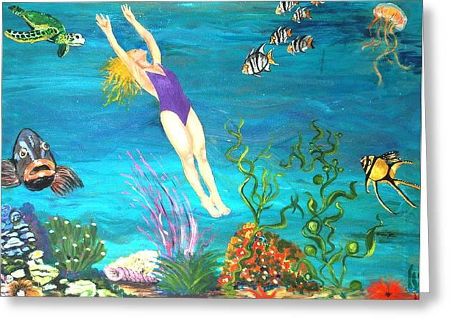Avis Greeting Cards - Aquarium Fun Greeting Card by Avis Fox