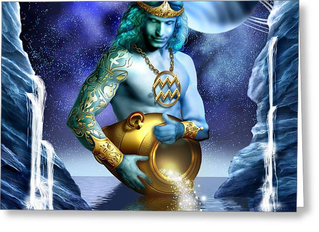 Jewellery Greeting Cards - Aquarius Greeting Card by Ciro Marchetti