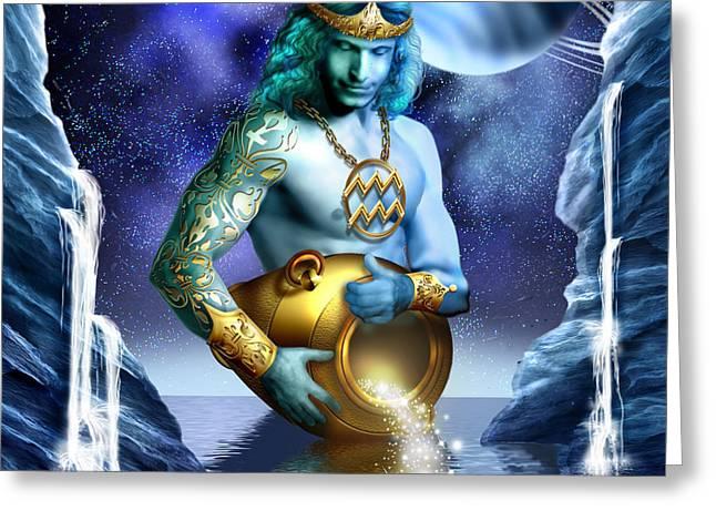 Aquarius Greeting Card by Ciro Marchetti
