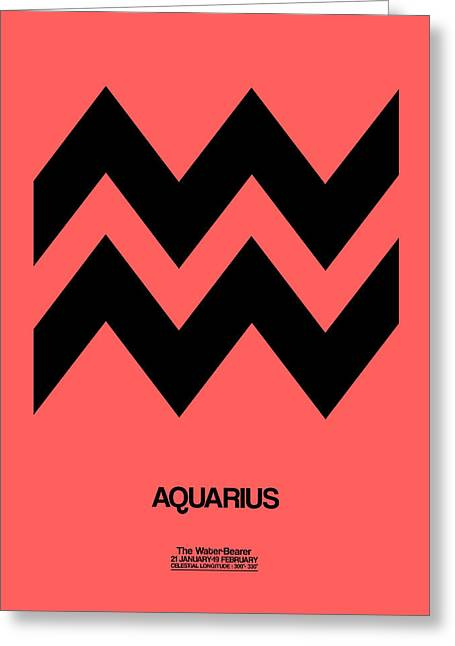 Signed Digital Art Greeting Cards - Aquarius Zodiac Sign Black Greeting Card by Naxart Studio