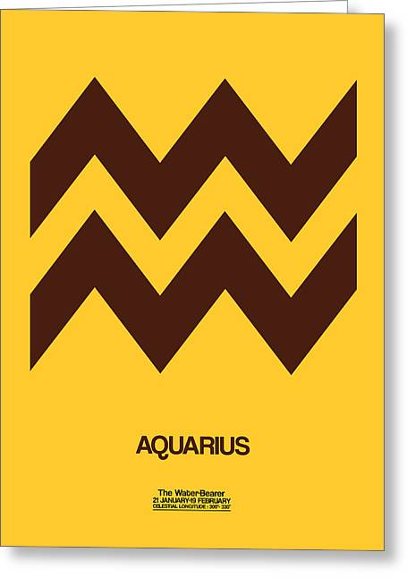 Aquarius Zodiac Sign Brown Greeting Card by Naxart Studio