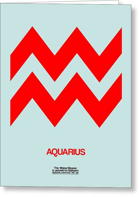 Aquarius Zodiac Sign Red Greeting Card by Naxart Studio