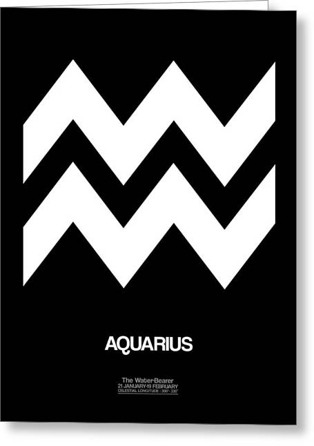 Signed Digital Art Greeting Cards - Aquarius Zodiac Sign White Greeting Card by Naxart Studio