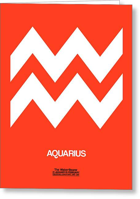 Aquarius Zodiac Sign White On Orange Greeting Card by Naxart Studio