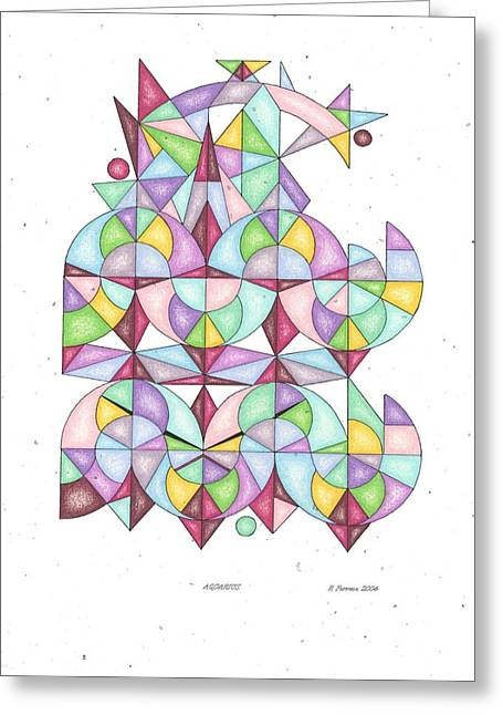 Sacred Drawings Greeting Cards - Aquarius Zodiac Symbol Greeting Card by Ruthie Ferrone