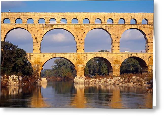 Repetition Greeting Cards - Aqueduct, Pont Du Gard Greeting Card by Panoramic Images