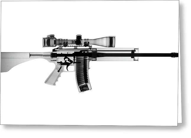 Guns Photographs Greeting Cards - AR 15 Pro Ordnance Carbon 15 X-Ray Photograph Greeting Card by Ray Gunz