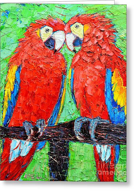 Animals Love Greeting Cards - Ara Love A Moment Of Tenderness Between Two Scarlet Macaw Parrots Greeting Card by Ana Maria Edulescu