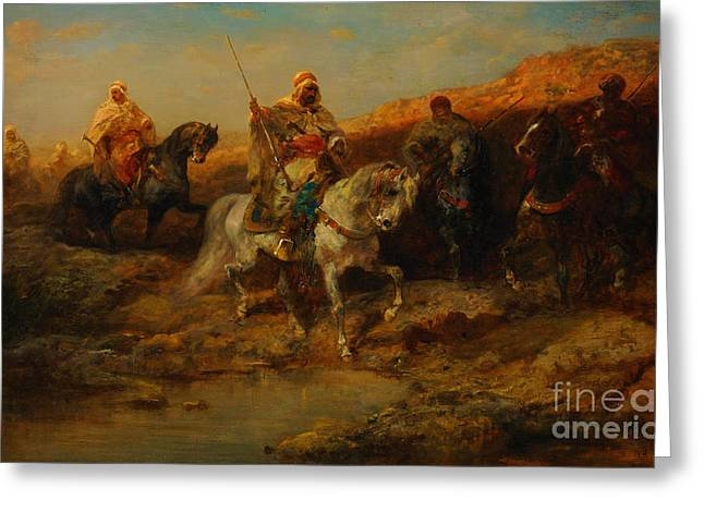 Sahara Sunlight Greeting Cards - Arab Horsemen By An Oasis Greeting Card by Celestial Images
