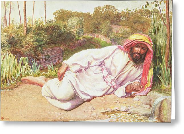 Resting Drawings Greeting Cards - Arab Resting By A Stream, 1854 Greeting Card by William Holman Hunt