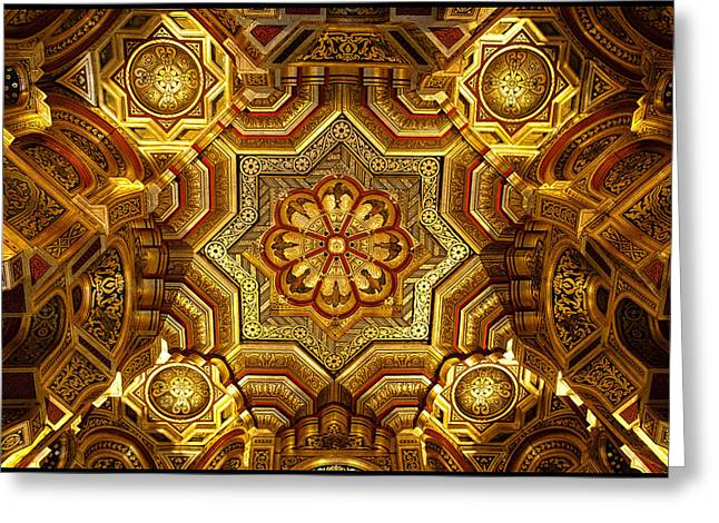 Arab-norman Greeting Cards - Arab Room Ceiling at Cardiff Castle Greeting Card by Adele Buttolph