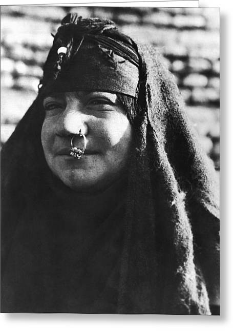 Arab Woman With Nose Ring Greeting Card by Underwood Archives