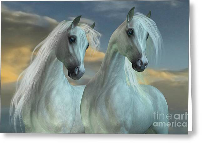 Horse Images Digital Greeting Cards - Arabian Brothers Greeting Card by Corey Ford