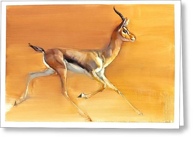 Horns Greeting Cards - Arabian Gazelle Greeting Card by Mark Adlington