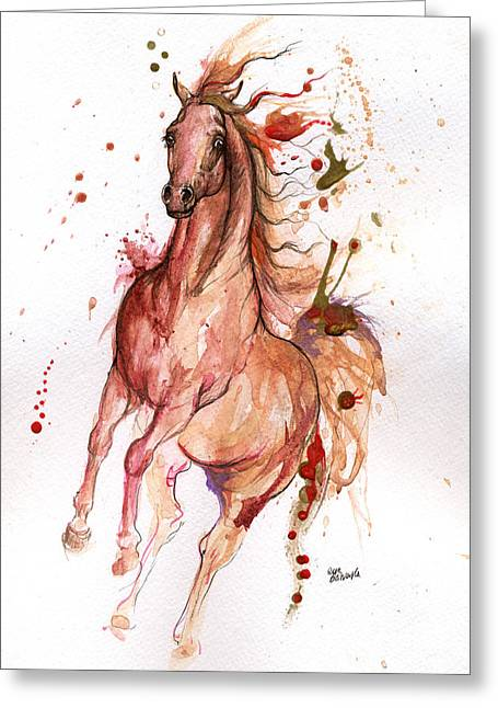 Wild Horses Mixed Media Greeting Cards - Arabian horse 2014 10 21 Greeting Card by Angel  Tarantella