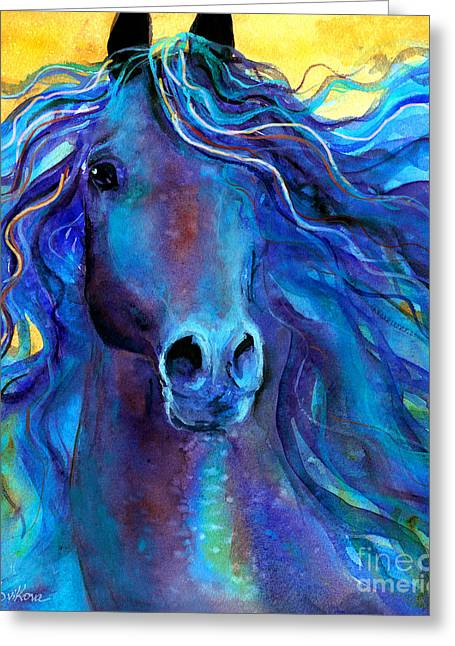 Impressionistic Poster Greeting Cards - Arabian horse #3  Greeting Card by Svetlana Novikova