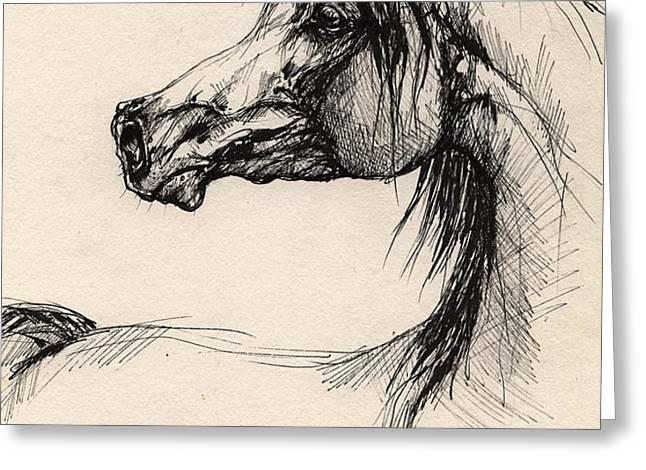 arabian horse drawing 26 Greeting Card by Angel  Tarantella