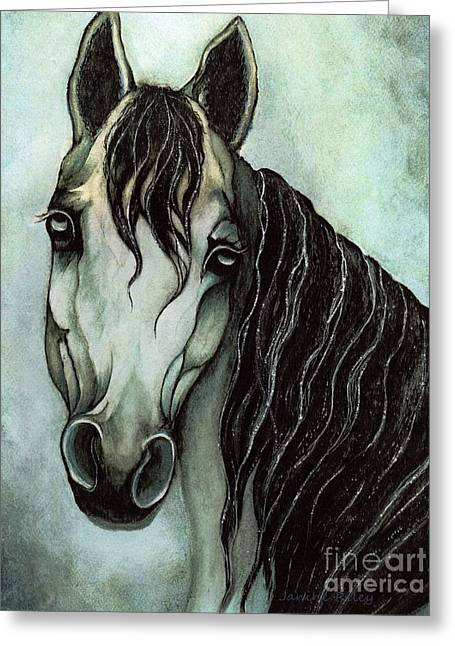 Monotone Paintings Greeting Cards - Arabian horse  Greeting Card by Janine Riley