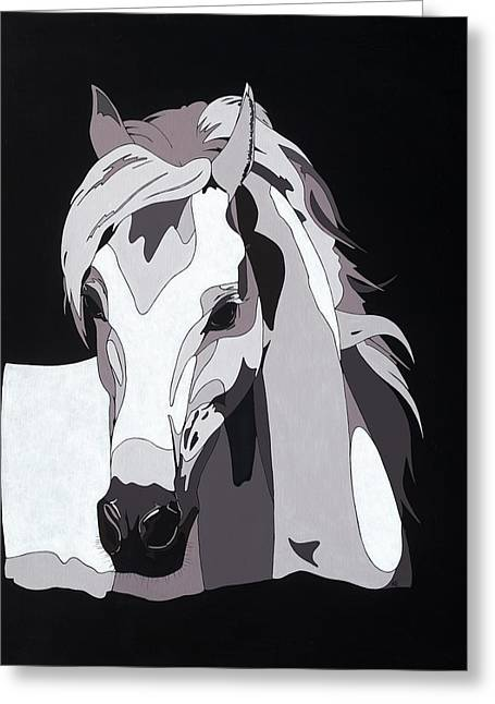 Farm Animal Abstracts Greeting Cards - Arabian Horse with hidden picture Greeting Card by Konni Jensen
