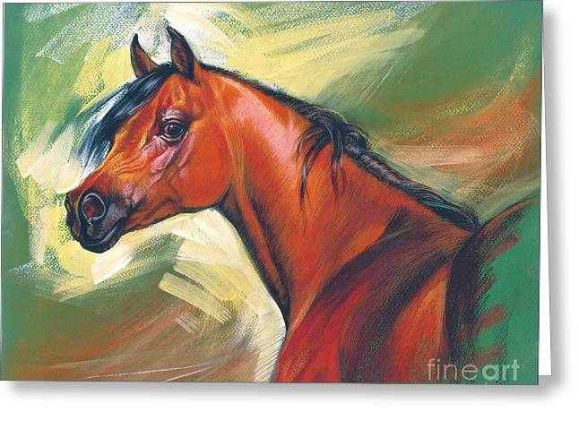 Expressionist Horse Greeting Cards - Arabian Horse Greeting Card by Zorina Baldescu