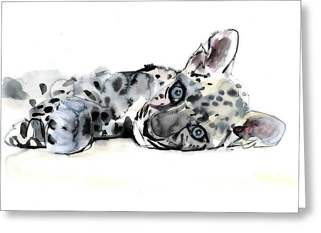 Watercolor On Paper Greeting Cards - Arabian Leopard Cub Greeting Card by Mark Adlington