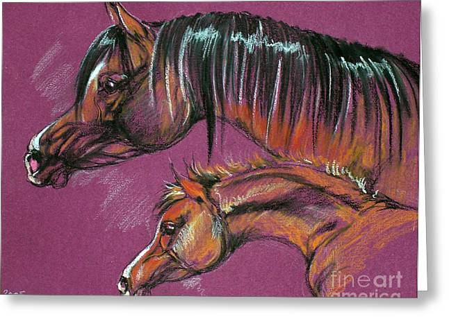Mothers Pastels Greeting Cards - Arabian Mare And Foal Greeting Card by Angel  Tarantella