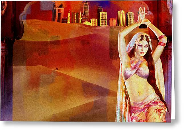 Lounge Paintings Greeting Cards - Arabian Nights Greeting Card by Corporate Art Task Force