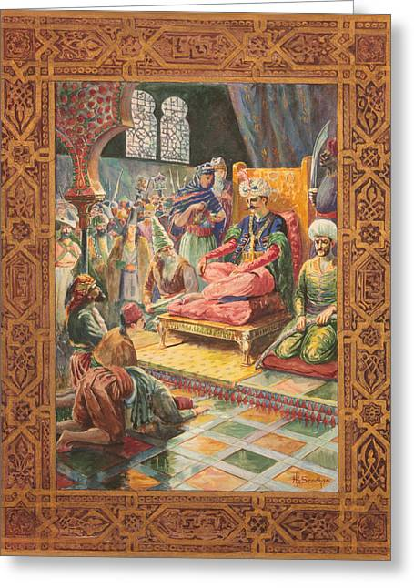 Arabian Nights H J Sandham Greeting Card by Paul Ashby Antique Paintings
