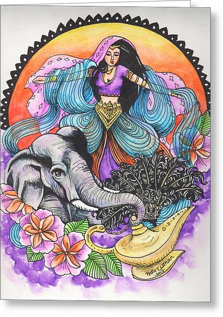 Night Lamp Drawings Greeting Cards - Arabian Nights Greeting Card by Katie Essman