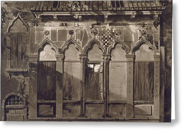 Venetian Architecture Greeting Cards - Arabian Windows, In Campo Santa Maria Greeting Card by John Ruskin