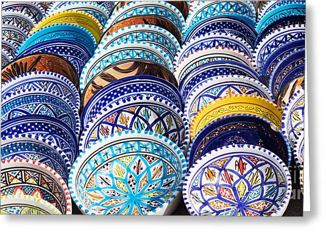 Mythja Greeting Cards - Arabic Colorful Pottery  Greeting Card by Mythja  Photography