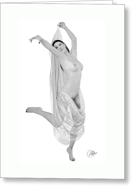 Nude Odalisque Greeting Card by Quim Abella