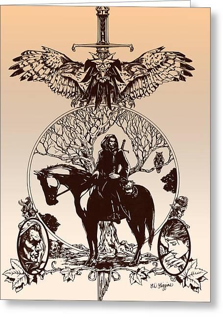 Ink Drawing Greeting Cards - aragorn-Tolkien appreciation Greeting Card by Derrick Higgins
