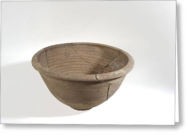 Archaeology Archeological Greeting Cards - Aramaic incantation bowl Greeting Card by Science Photo Library