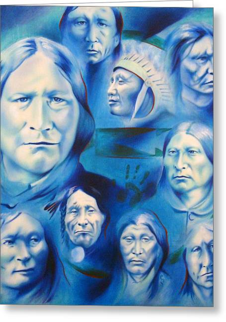 Chicano Greeting Cards - Arapaho Leaders Greeting Card by Robert Martinez