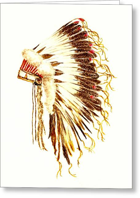 War Drawing Greeting Cards - Arapaho War Bonnet Greeting Card by Michael Vigliotti