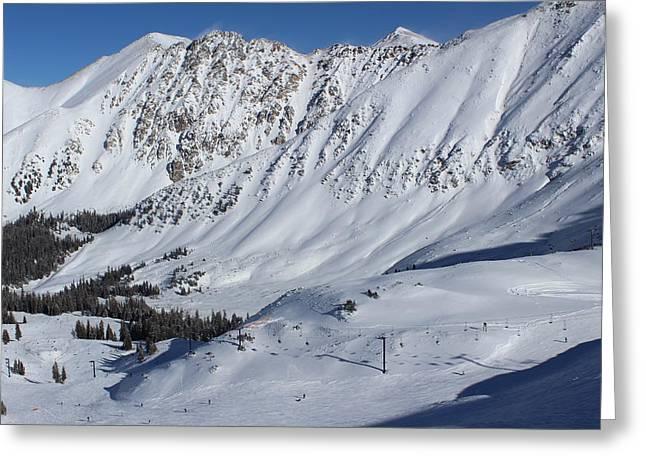 Snow Skiing Print Greeting Cards - Arapahoe Basin  Greeting Card by Fiona Kennard