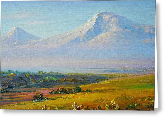 Armenia Greeting Cards - Araratian field and Ararat Greeting Card by Meruzhan Khachatryan
