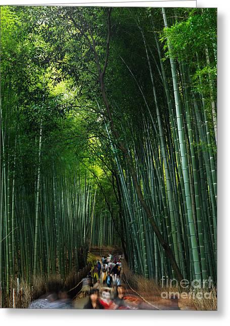Arashiyama Greeting Cards - Arashiyama bamboo forest in Kyoto Greeting Card by Oleksiy Maksymenko