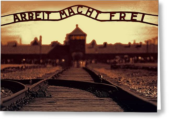 Concentration Greeting Cards - Arbeit Macht Frei Greeting Card by Daniel Hagerman
