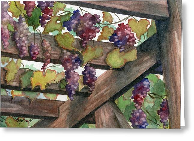 Trellis Paintings Greeting Cards - Arbor Greeting Card by Marsha Elliott