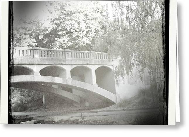 Arboretum Bridge Greeting Card by Justine Connolly