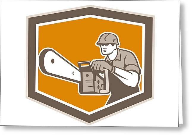 Saw Greeting Cards - Arborist Lumberjack Operating Chainsaw Shield Greeting Card by Aloysius Patrimonio