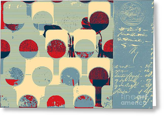 Blue Red Trees Greeting Cards - Arbrabstract - 08a Greeting Card by Variance Collections