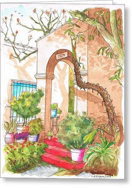 Architecrure Greeting Cards - Arc and red stairs in Hollywodd - California Greeting Card by Carlos G Groppa