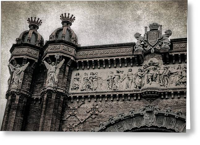 Catalan Greeting Cards - Arc de Triomf Barcelona Detail BW Greeting Card by Joan Carroll
