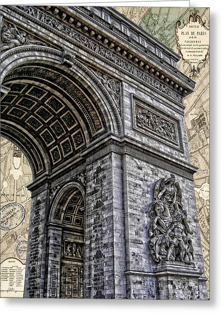 Map Of France Greeting Cards - Arc de Triomphe - French Map of Paris Greeting Card by Lee Dos Santos