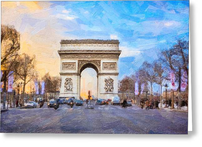Champs Elysees Greeting Cards - Arc de Triomphe - A Paris Landmark Greeting Card by Mark Tisdale
